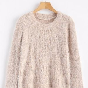 🎈NWT Fluffy Soft Tan Crew Neck Plain Sweater OS